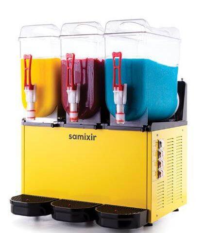Samixir SLUSH Triple 12+12+12 L Slush, Granita, Meyve Suyu Dispenseri, Sarı Renk