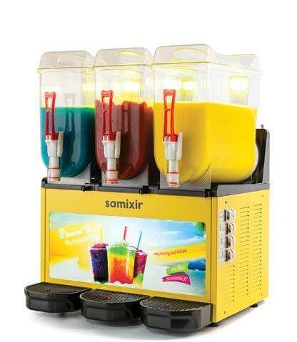 Samixir SLUSH Triple Allure 12+12+12 L Slush, Granita, Meyve Suyu Dispenseri, Sarı Renk