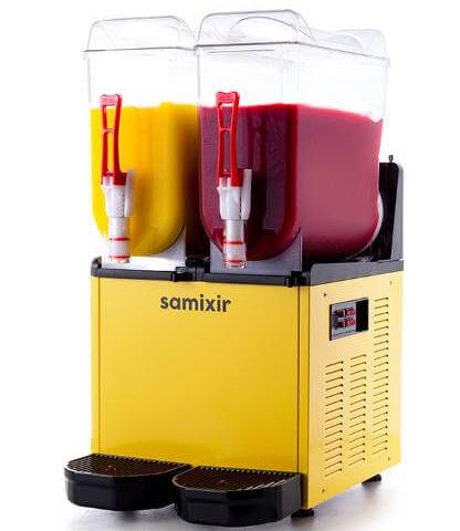 Samixir SLUSH Twin 12+12 L Slush, Granita, Meyve Suyu Dispenseri, Sarı Renk