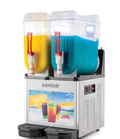 Samixir SLUSH Twin Allure 12+12 L Slush, Granita, Meyve Suyu Dispenseri, Inox
