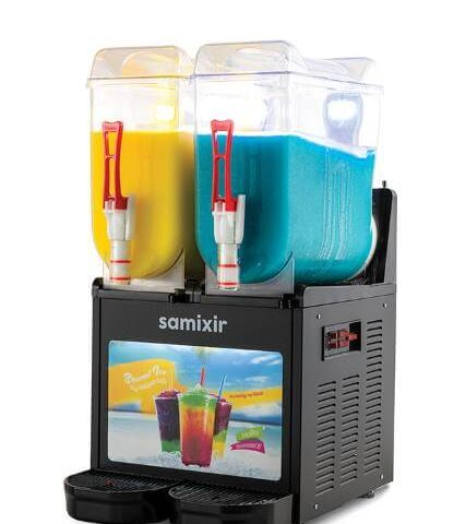 Samixir SLUSH Twin Allure 12+12 L Slush, Granita, Meyve Suyu Dispenseri, Siyah Renk