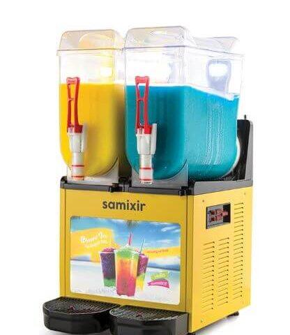 Samixir SLUSH24.YA Slush Twin Allure, 12+12 litre Kapasiteli Meyve Suyu Dispenseri, Sarı Renk, Işıklı, Çift Hazneli